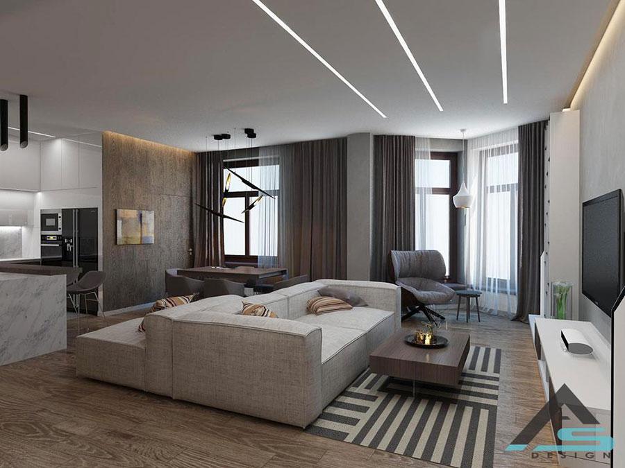 Idee per illuminare il controsoffitto del soggiorno con strisce led n.06