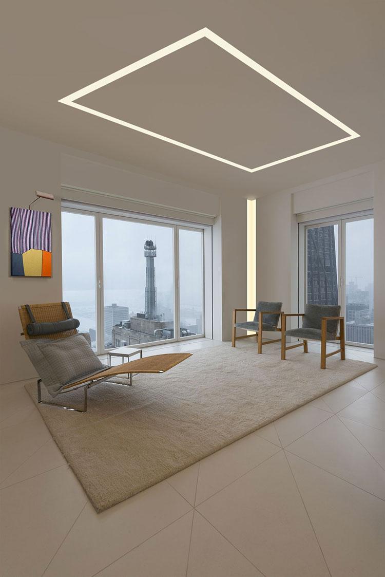 Idee per illuminare il controsoffitto del soggiorno con strisce led n.08