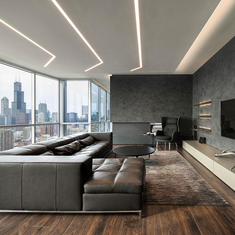 Idee per illuminare il controsoffitto del soggiorno con strisce led n.09