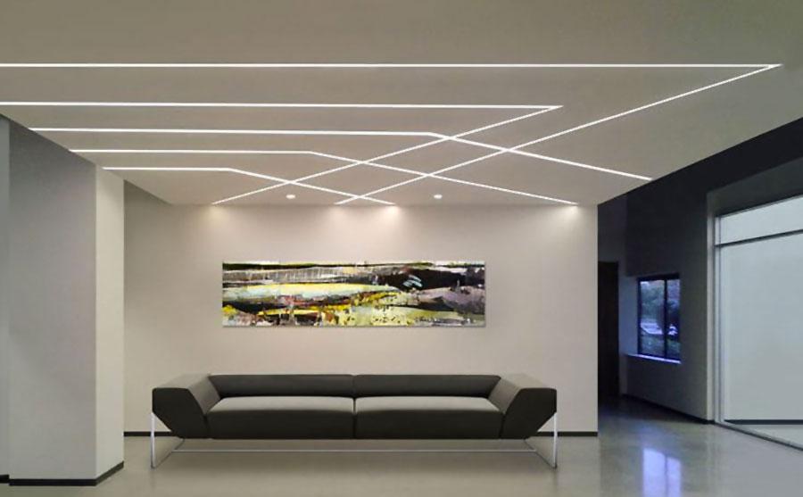 Idee per illuminare il controsoffitto del soggiorno con strisce led n.12