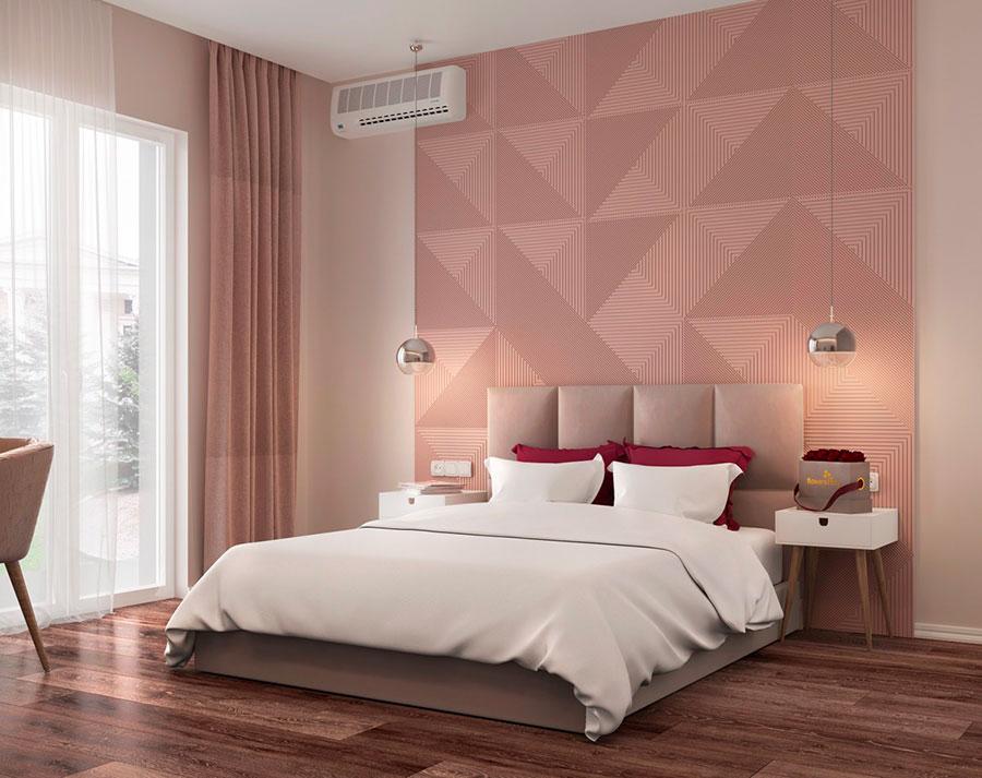 Idee per arredare una camera da letto grigia e rosa n.08