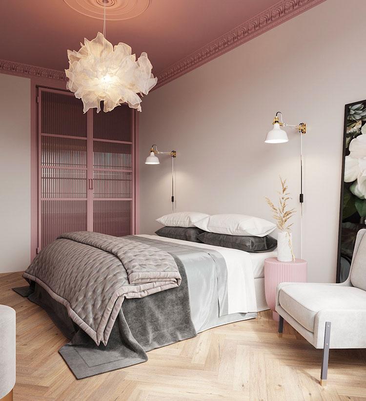 Idee per arredare una camera da letto grigia e rosa n.09
