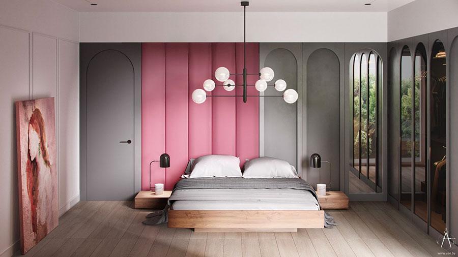 Idee per arredare una camera da letto grigia e rosa n.11