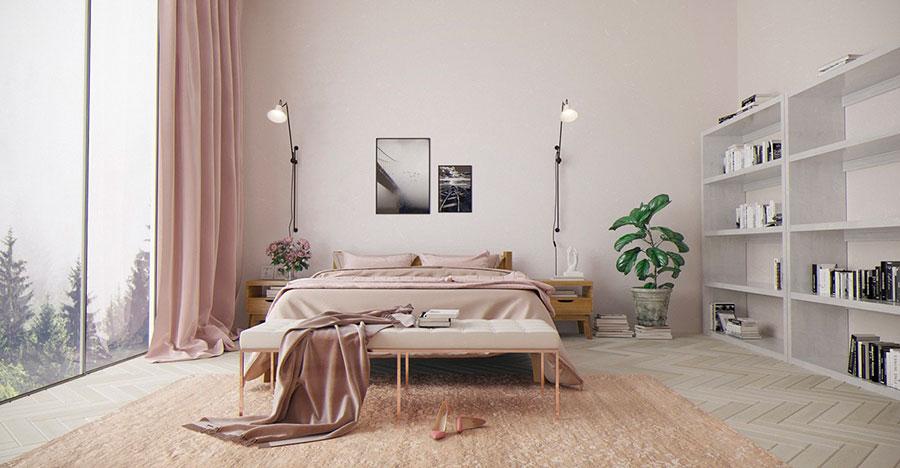 Idee per arredare una camera da letto rosa antico e grigio n.03