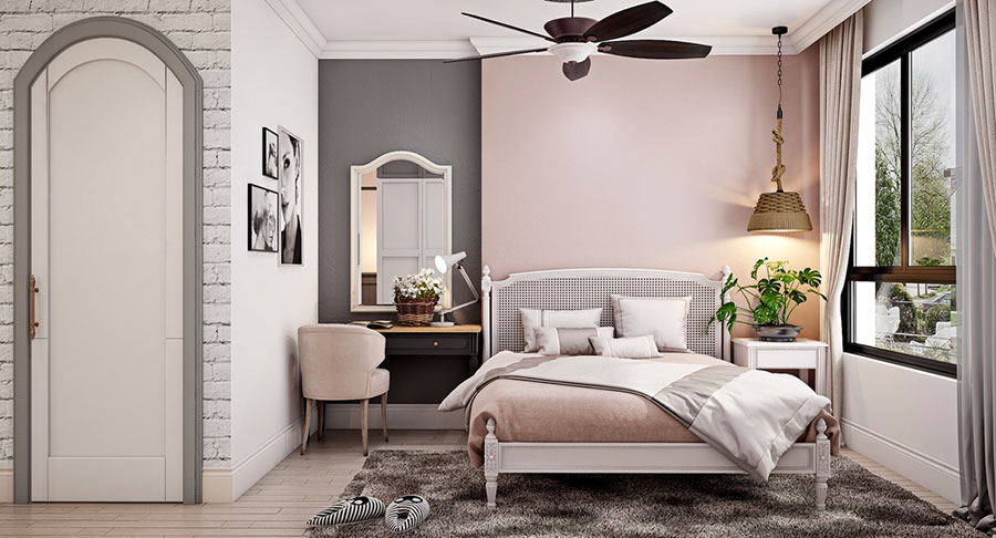 Idee per arredare una camera da letto rosa antico e grigio n.04