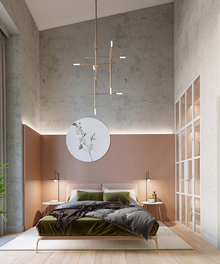 Idee per arredare una camera da letto rosa antico e grigio n.06