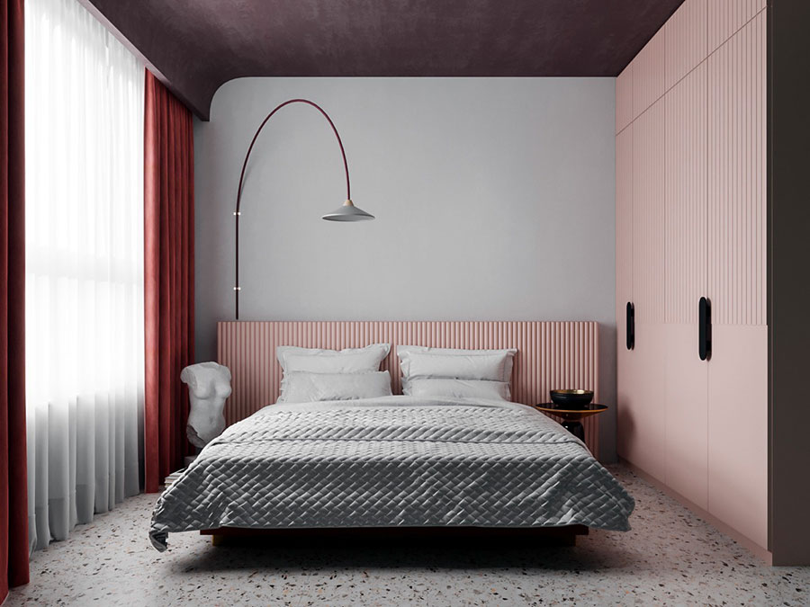 Idee per arredare una camera da letto rosa antico e grigio n.08
