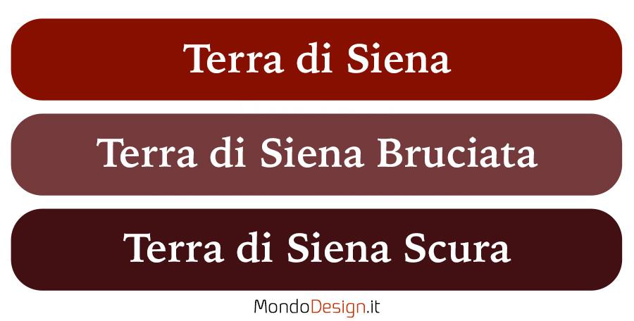 Sfumature del colore terra di Siena