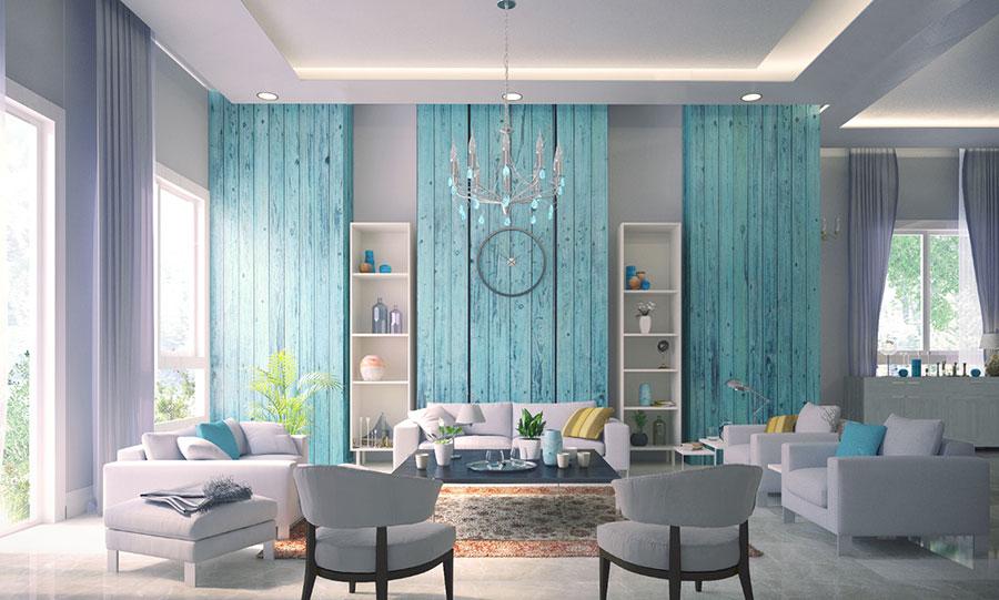 Idee per dipingere le pareti con il colore ciano n.3
