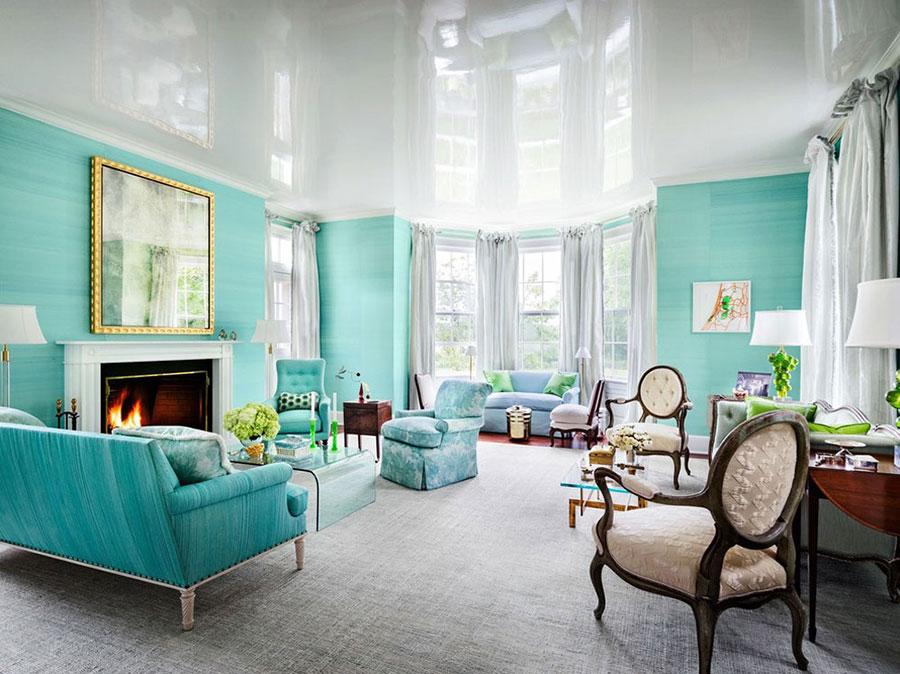 Idee per dipingere le pareti con il colore ciano n.5