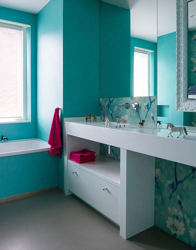 Idee per dipingere le pareti con il colore ciano n.6