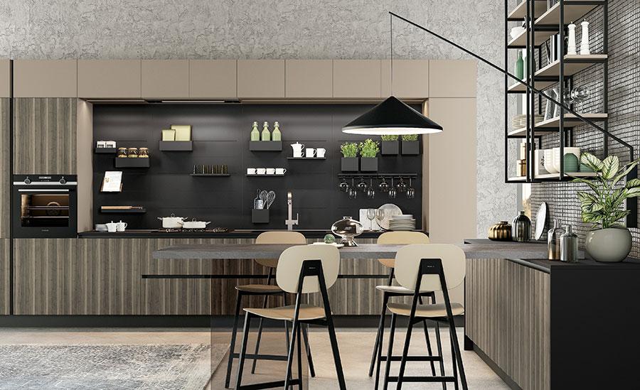 Modello di cucina beige e grigio n.03