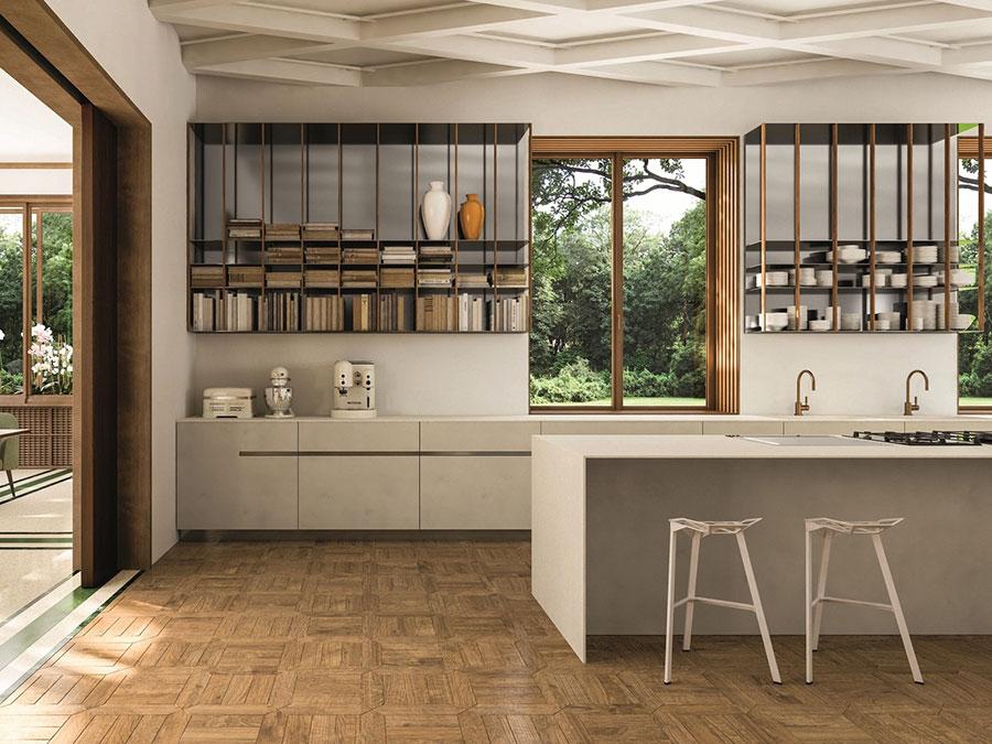 Modello di cucina beige moderna n.01