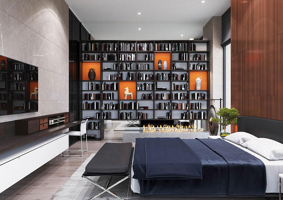 Idee per la libreria in camera da letto n.09