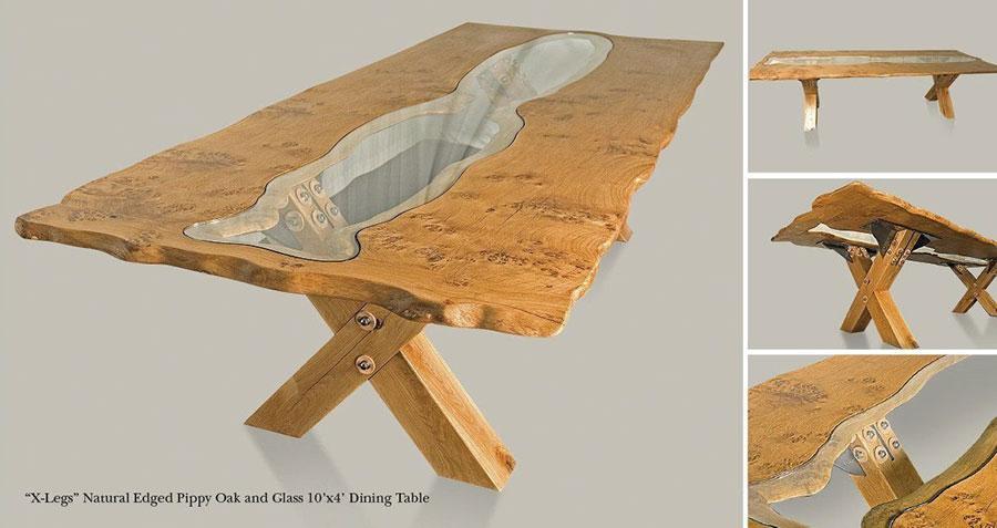 Modello di tavolo in legno grezzo e vetro n.04