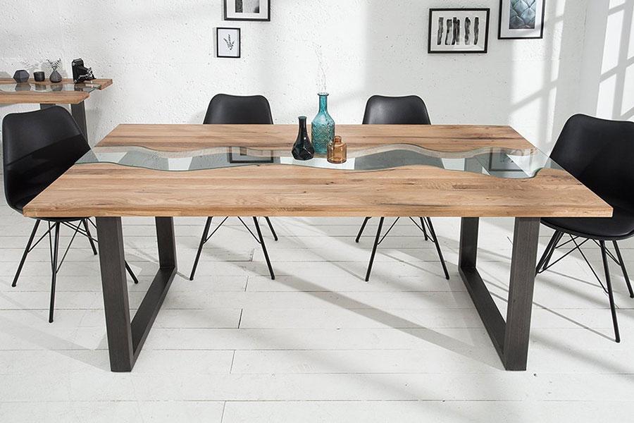 Modello di tavolo in legno grezzo e vetro n.05