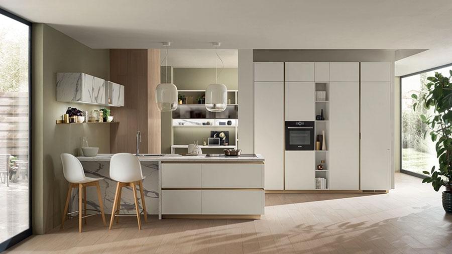 Progetto per cucina con isola a muro n.01