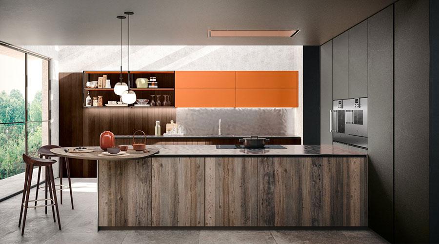 Progetto per cucina con isola a muro n.02