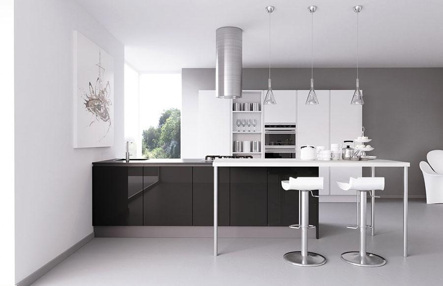 Progetto per cucina con isola a muro n.03