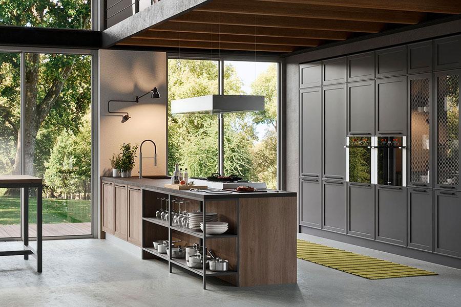 Open space cucina con isola a muro n.02