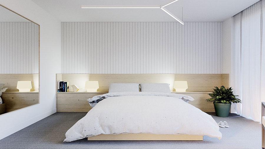 Idee per arredare una camera da letto bianca e legno n.01