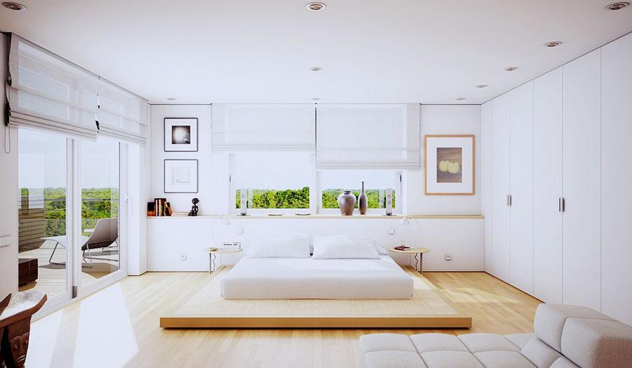Idee per arredare una camera da letto bianca e legno n.02