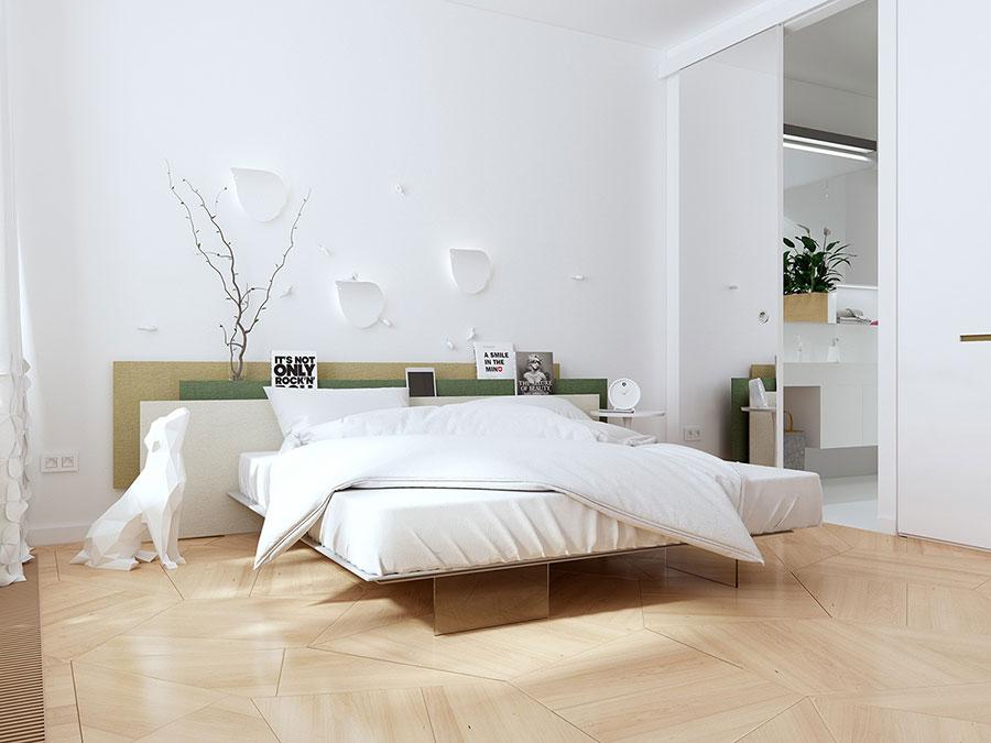 Idee per arredare una camera da letto bianca e legno n.03