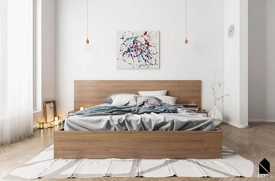 Idee per arredare una camera da letto bianca e legno n.04
