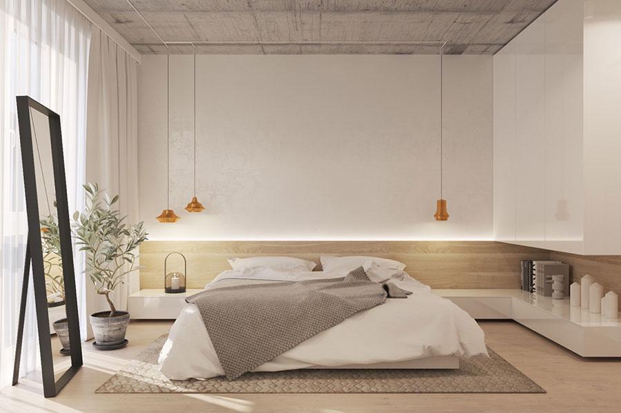 Idee per arredare una camera da letto bianca e legno n.05
