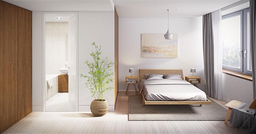Idee per arredare una camera da letto bianca e legno n.06