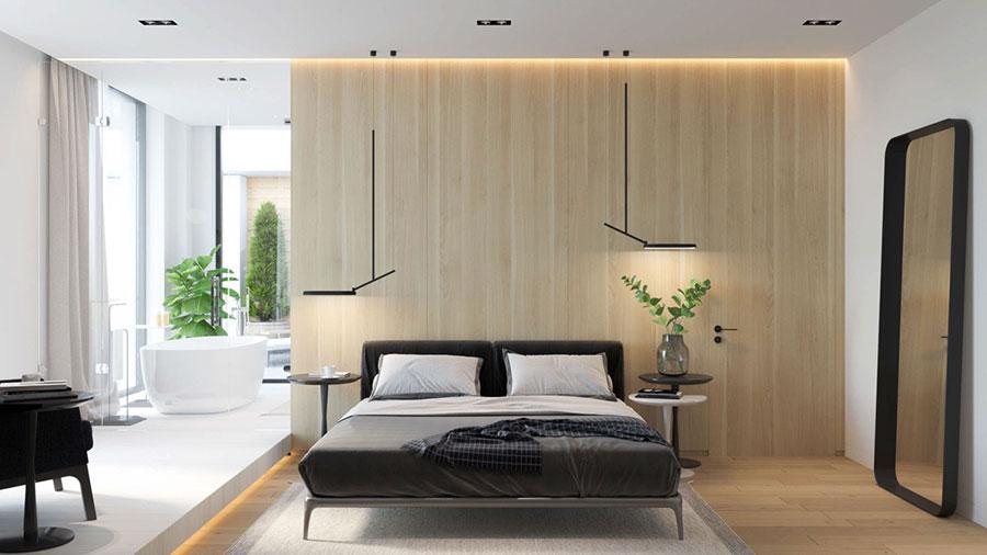 Idee per arredare una camera da letto bianca e legno n.07