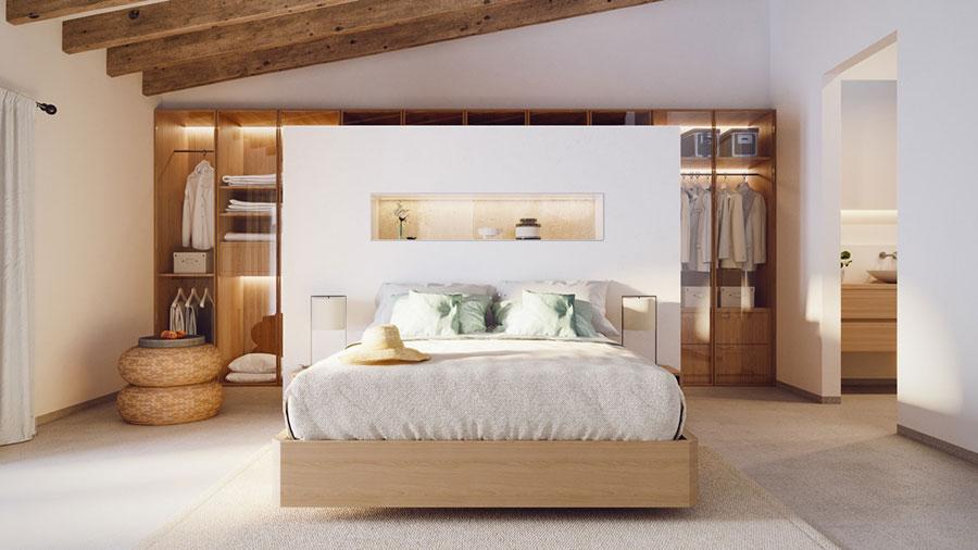 Idee per arredare una camera da letto bianca e legno n.08