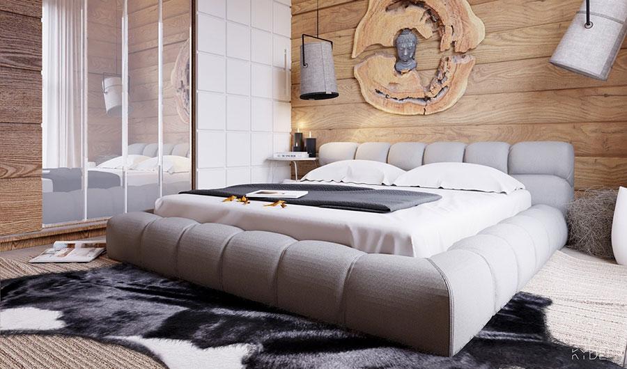 Idee per arredare una camera da letto bianca e legno n.09