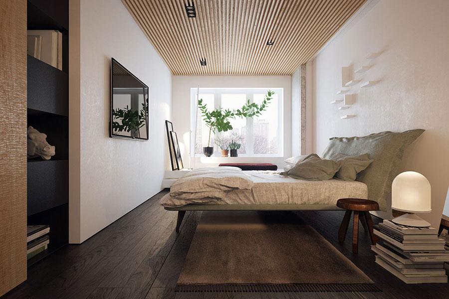 Idee per arredare una camera da letto bianca e legno n.10