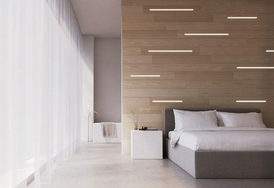 Idee per arredare una camera da letto bianca e legno n.11
