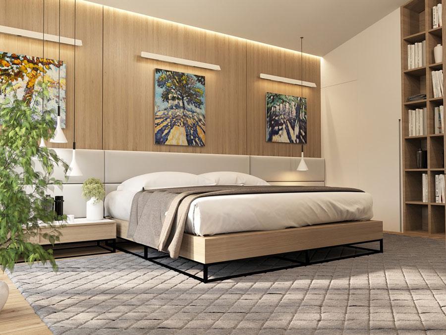Idee per arredare una camera da letto bianca e legno n.15