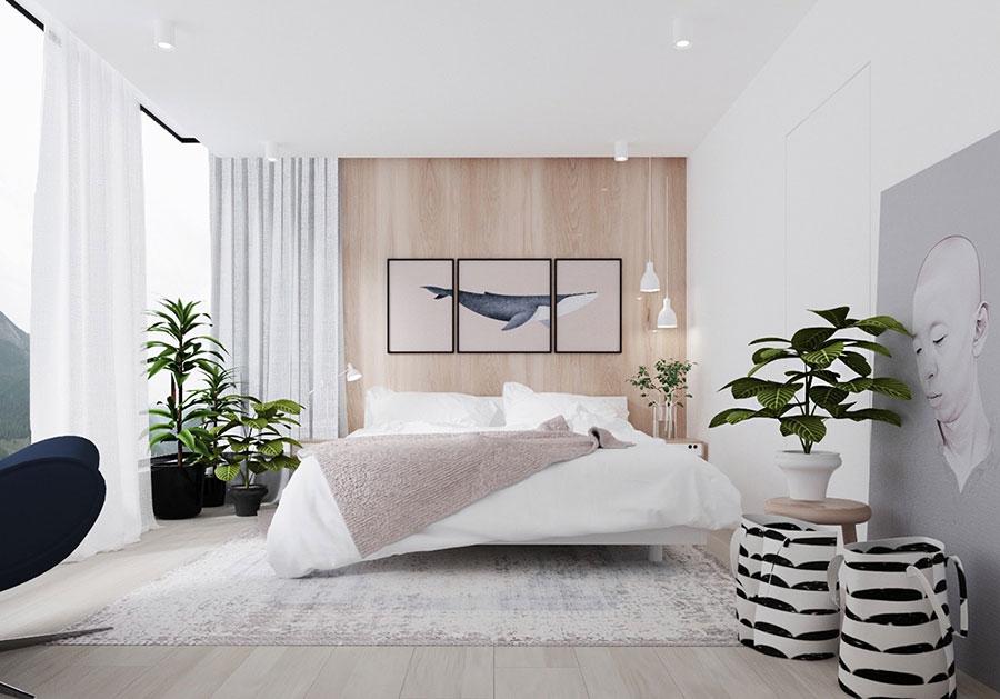 Idee per arredare una camera da letto bianca e legno n.16