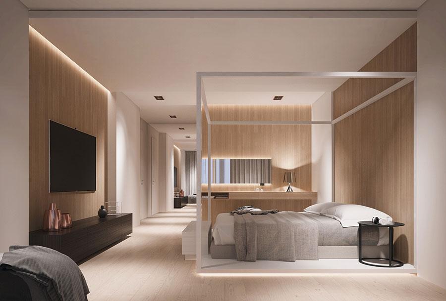 Idee per arredare una camera da letto bianca e legno n.17
