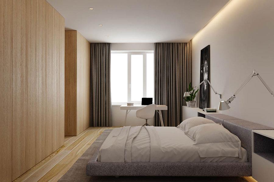 Idee per arredare una camera da letto bianca e legno n.21