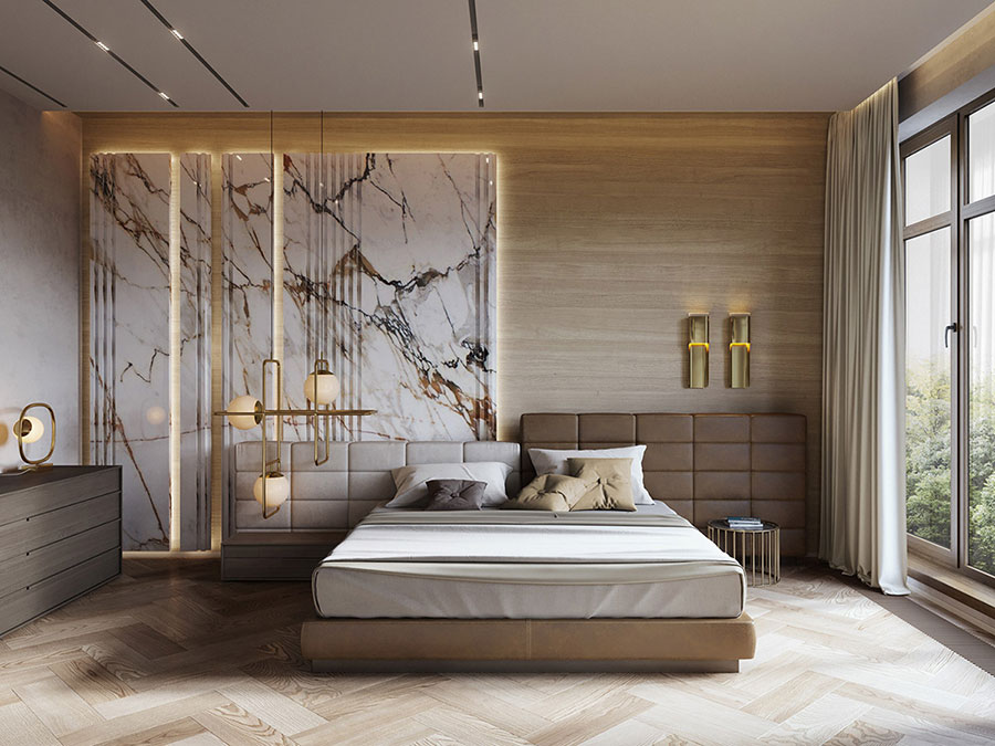 Idee per arredare una camera da letto bianca e legno n.22