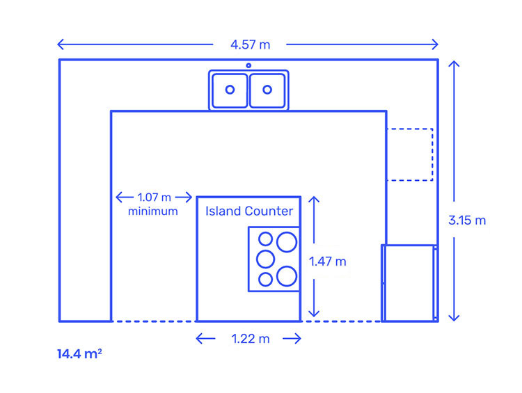 Misura distanze minime isola cucina n.02