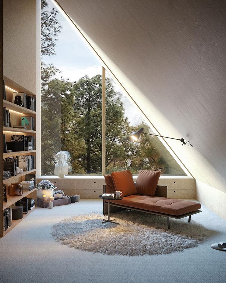 Idee per libreria moderna con finestra n.01