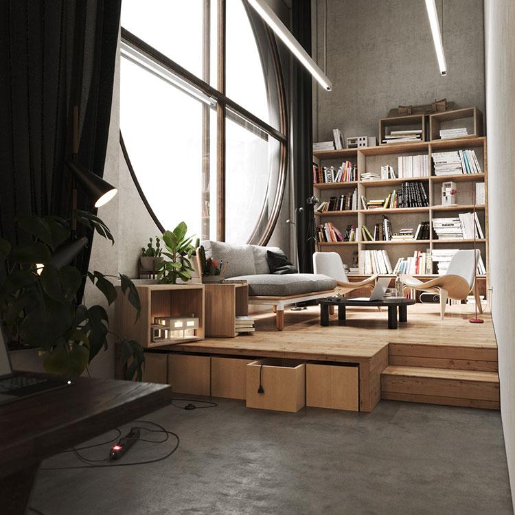 Idee per libreria moderna con finestra n.04