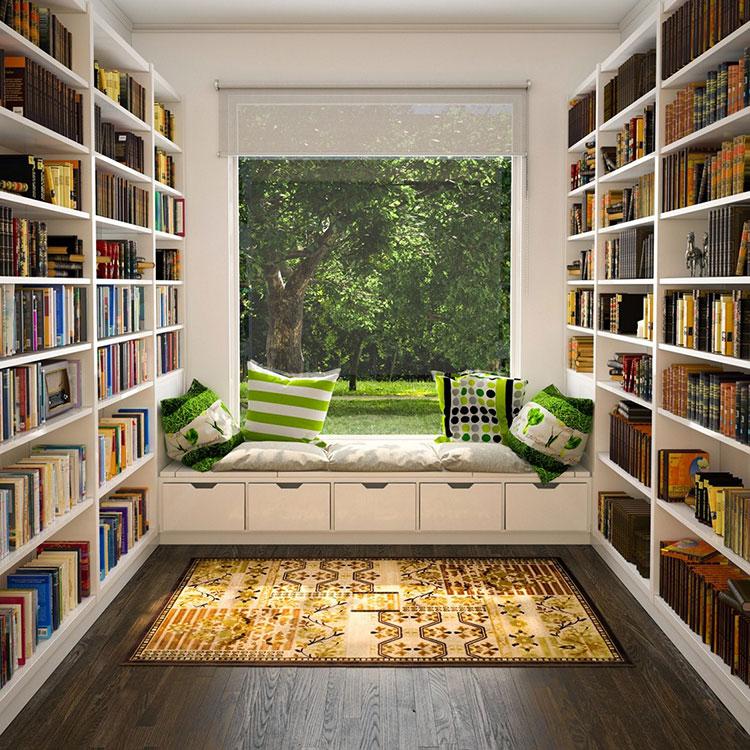 Idee per libreria moderna con finestra n.06