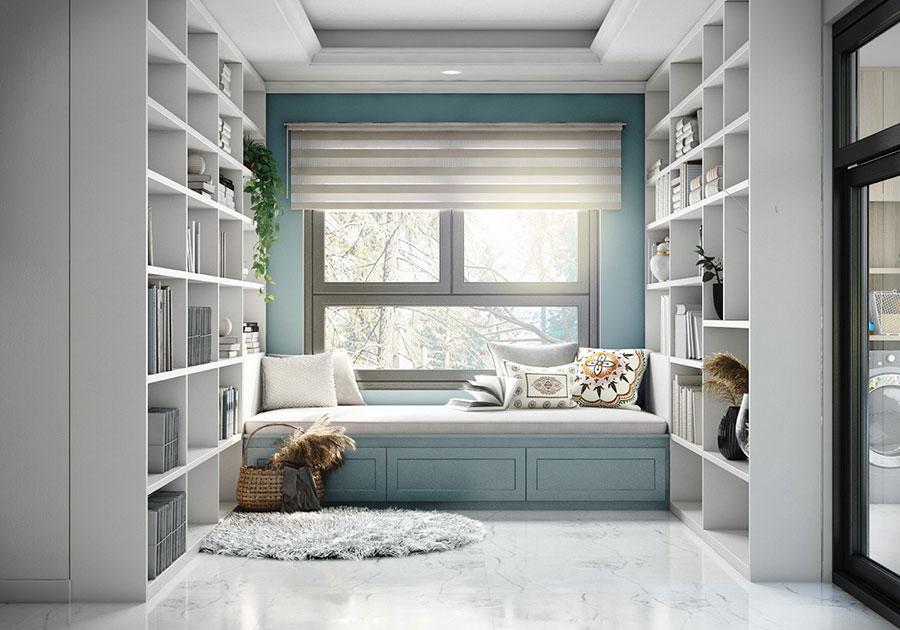Idee per libreria moderna con finestra n.07