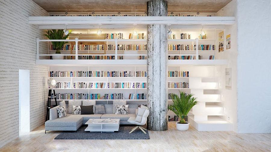Idee per libreria moderna con soppalco n.01