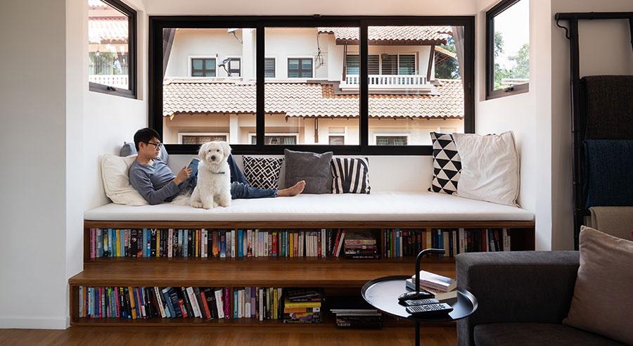 Idee per libreria moderna con soppalco n.05