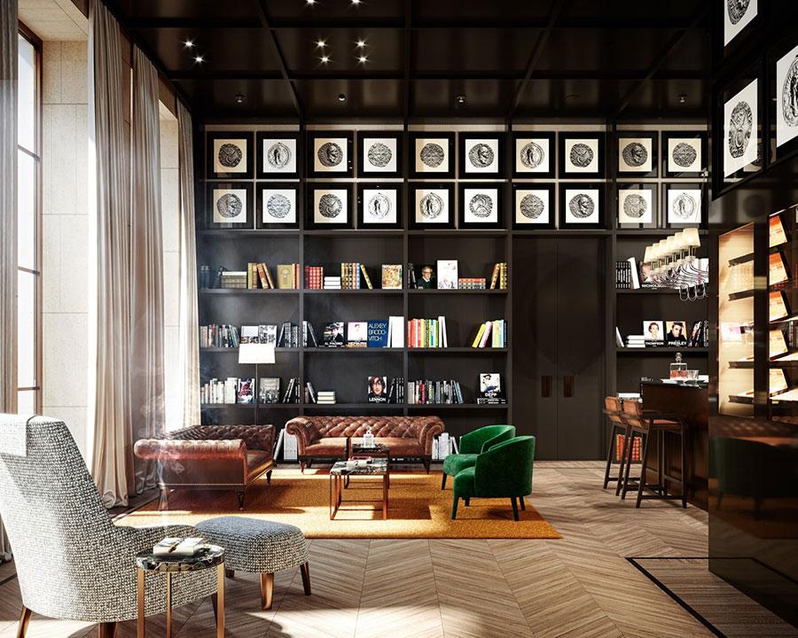 Idee per libreria moderna a tutta altezza n.04