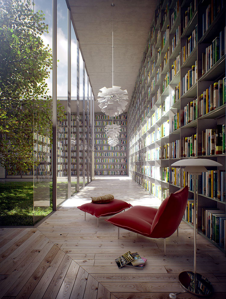 Idee per libreria moderna a tutta altezza n.05