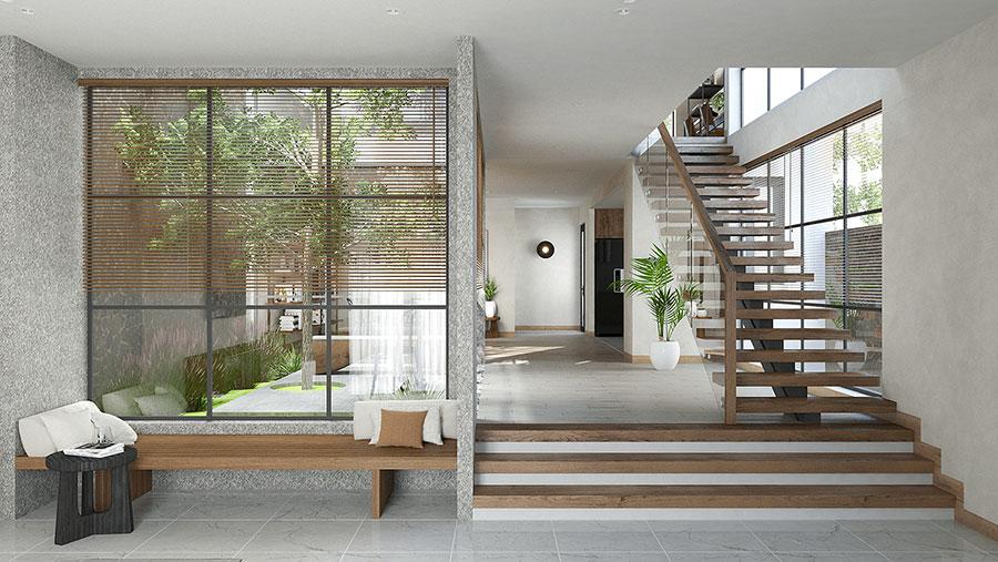 Casa con arredamento japandi n.15